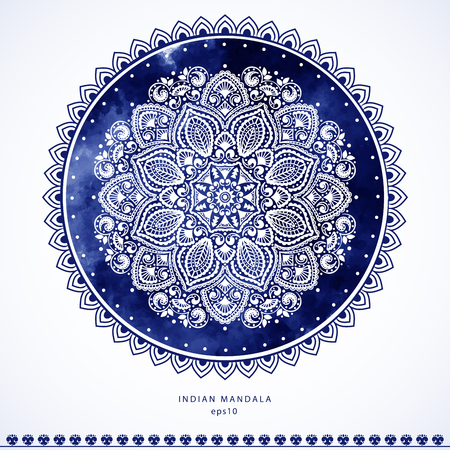 Indian Mandala towel print. Vintage Henna tattoo style Indian medallion. Ethnic ornament could be used as shirt print, phone case print, textile, coloring book. Christmas holiday snowflake