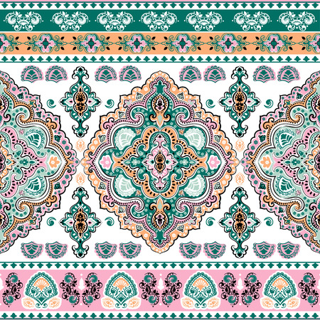 Beautiful Indian floral paisley seamless ornament print. Ethnic Mandala towel. Vector Henna tattoo style. Can be used for textile, greeting business card background, coloring book, phone case print Ilustrace