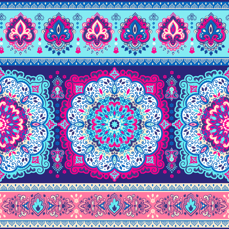 unique: Beautiful Indian floral paisley seamless ornament print. Ethnic Mandala towel. Vector Henna tattoo style. Can be used for textile, greeting business card background, coloring book, phone case print Illustration