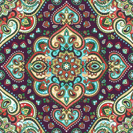 Belle Indian paisley floral seamless ornament impression. Ethnique serviette de Mandala. style de tatouage vecteur Henna. Peut être utilisé pour le textile, carte de voeux d'affaires fond, livre à colorier, cas de téléphone print