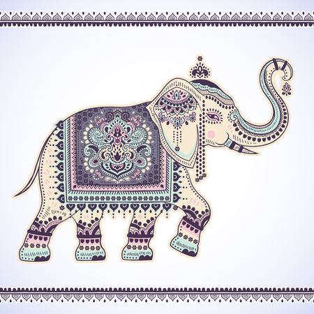 used ornament: Vintage graphic vector Indian lotus ethnic elephant. African tribal ornament. Can be used for a coloring book, textile, prints, phone case, greeting card, business card