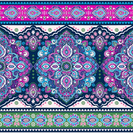 Bohemian Indian Mandala towel print. Vintage Henna tattoo style Иллюстрация
