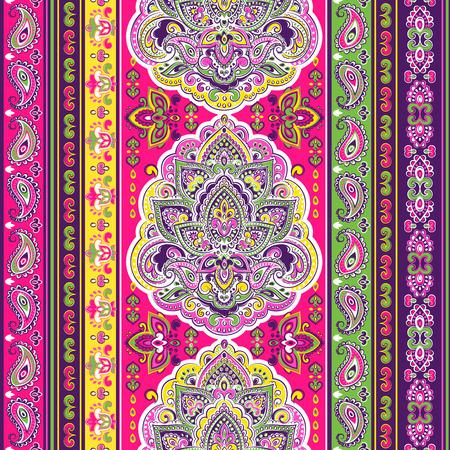 Bohemian Indian Mandala towel print. Vintage Henna tattoo style Illustration