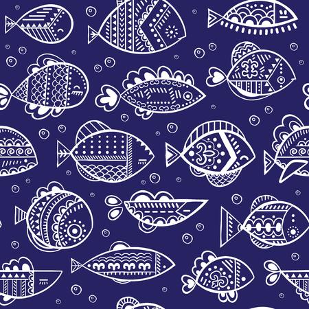Vector seamless stylized fish pattern