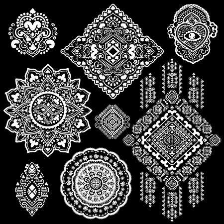 Bohemian Indian Mandala print. Vintage Henna tattoo style Vectores