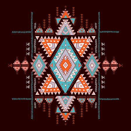 Geometric Aztec pattern. Tribal tattoo style. Can be used for textile, yoga mats, phone cases, rug.
