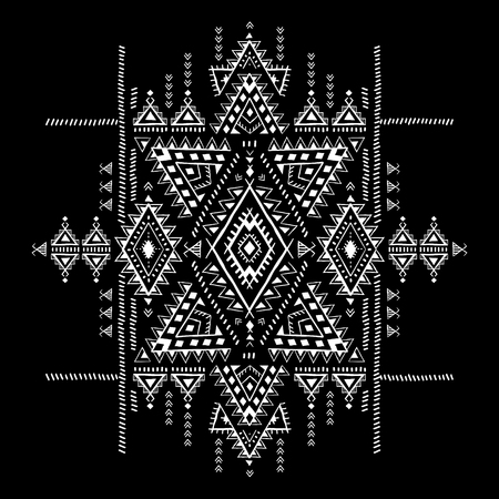 Geometric aztec pattern. Tribal tattoo style can be used for textile, yoga mats, phone cases, coloring book  イラスト・ベクター素材