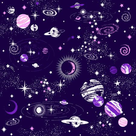 Galaxy constellation seamless pattern