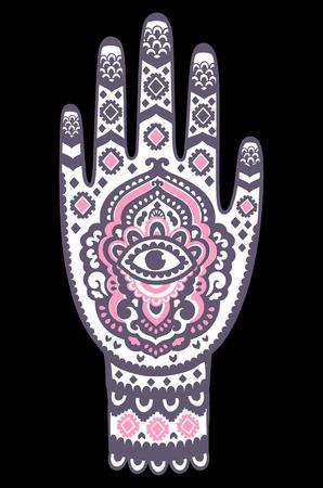 Vector Indian hand drawn hamsa symbol seamless pattern print