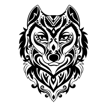 Vector tribal style wolf totem tattoo with ethnic ornaments Foto de archivo - 108768852