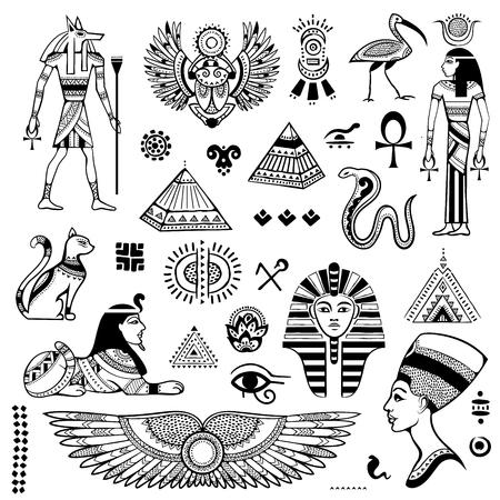 Modello senza cuciture etnico tribale di vettore con i simboli dell'Egitto Vettoriali