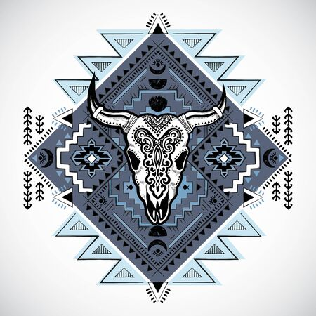 Vector Tribal animal skull with moon design