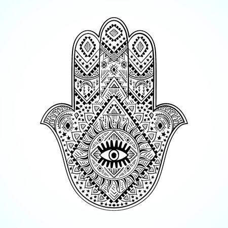 Hamsa print design. Aztec towel, yoga mat. Vector lace Henna tattoo style. Can be used for textile, greeting business card background, phone case print