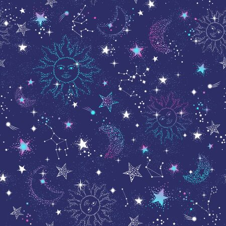 Space Galaxy constellation seamless pattern print could be used for textile, zodiac star yoga mat, phone case Illustration