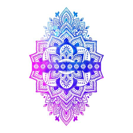 Bohemian Indian Mandala print. Vintage Henna tattoo style Banque d'images - 131078321