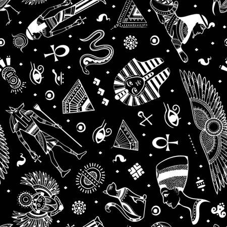 Vector tribal ethnic seamless pattern with Egypt symbols  イラスト・ベクター素材