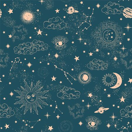Space Galaxy constellation seamless pattern print could be used for textile, zodiac star yoga mat, phone case Vettoriali