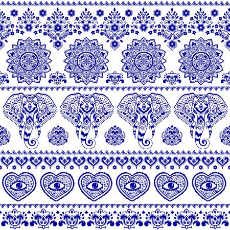 Indian rug tribal ornament pattern with elephants. Aztec towel, yoga mat. Vector lace Henna tattoo style 向量圖像