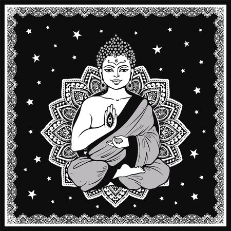 Vintage vector illustration of meditating Buddha and mandala