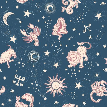 Space Galaxy constellation seamless pattern print could be used for textile, zodiac star yoga mat, phone case Ilustração