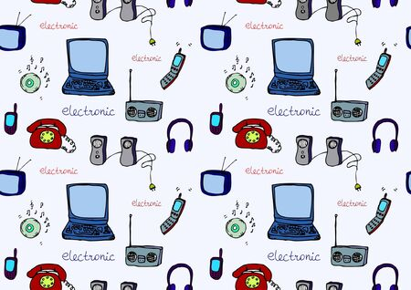 seamless colorful set of electronics