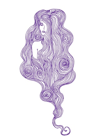 hand drawing curly hair Stock Vector - 13113080
