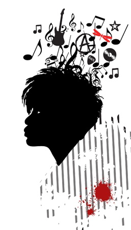 Black girl in profile with musical hair