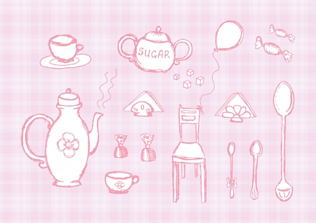Hand drawing pink set of kitchen tools Illustration