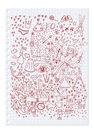 hand drawing set of girlish elements Illustration