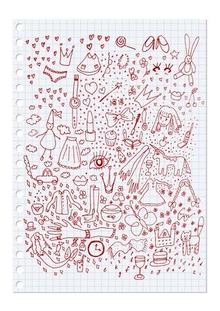 hand drawing set of girlish elements Illustration