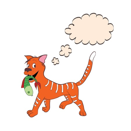 cloud of thinking hand drawing red cat Illustration