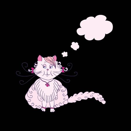 a hand drawing romantic kitty is thinking