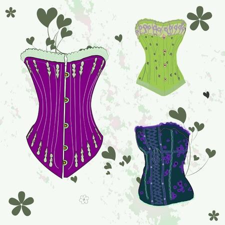 Colorful corset set
