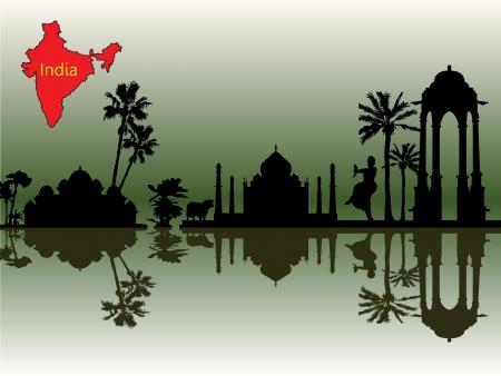 drapeau inde: silhouettes noires des objets indiens