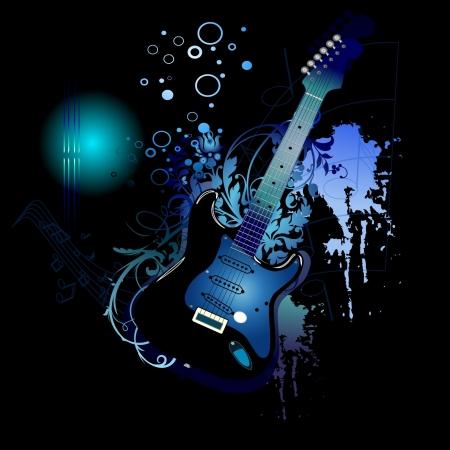 electronic music: Electro chitarra blu Vettoriali