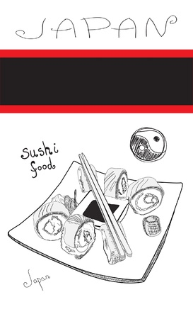 black and white sushi card Illustration