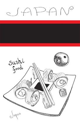 black and white sushi card Illustration