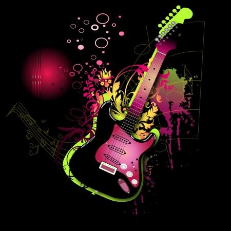 guitarra: Electro guitarra rosa
