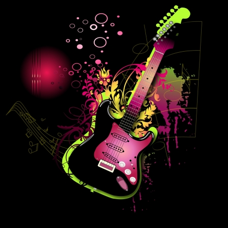 bubble acid:  Electro pink guitar Illustration