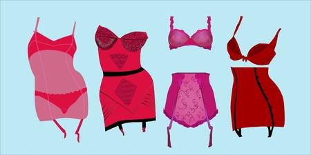 Elegant retro corsets Illustration