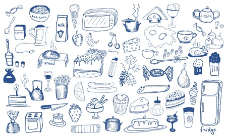 hand drawing set products Vector