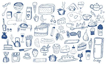refrigerador: productos usados ??conjunto de dibujos
