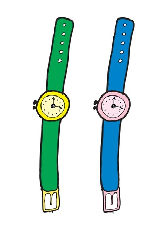 two hand drawing watches Illustration