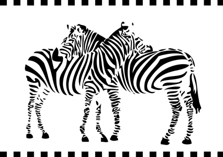 clip art draw: two zebras