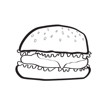 blak and white cheeseburger Vector