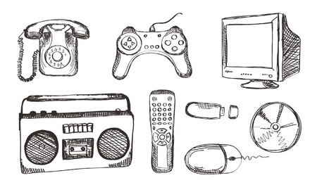 hand drawn electronic set Vector