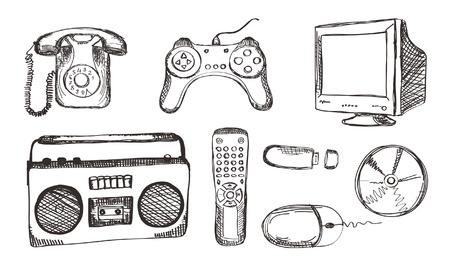 hand drawn electronic set