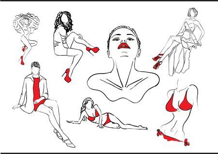 woman set Illustration