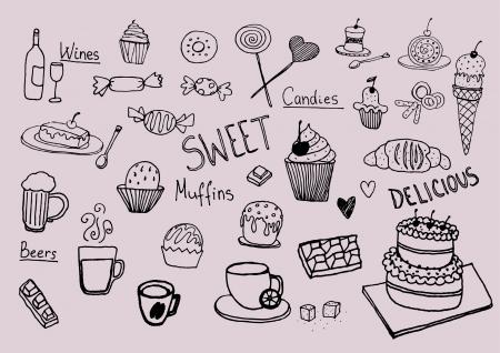 hand drawing sweet set