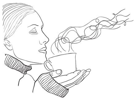 woman with cup Illustration
